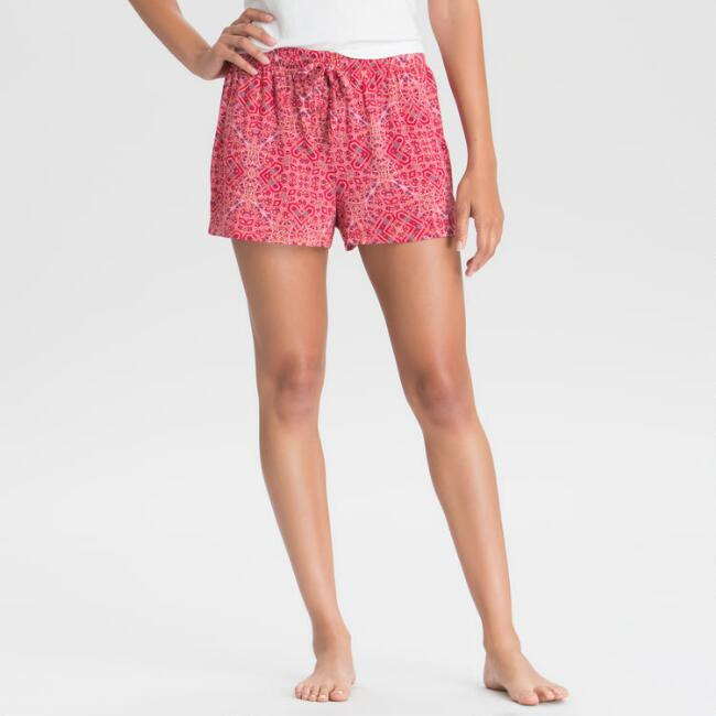 Red Mosaic Pajama Shorts