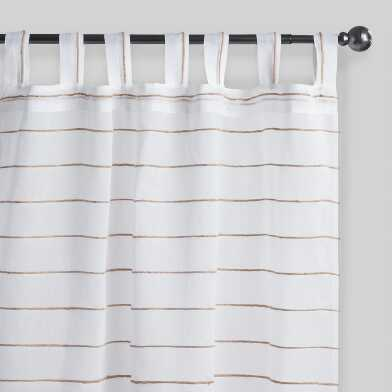 White Jute Striped Sahaj Tab Top Curtains Set Of 2