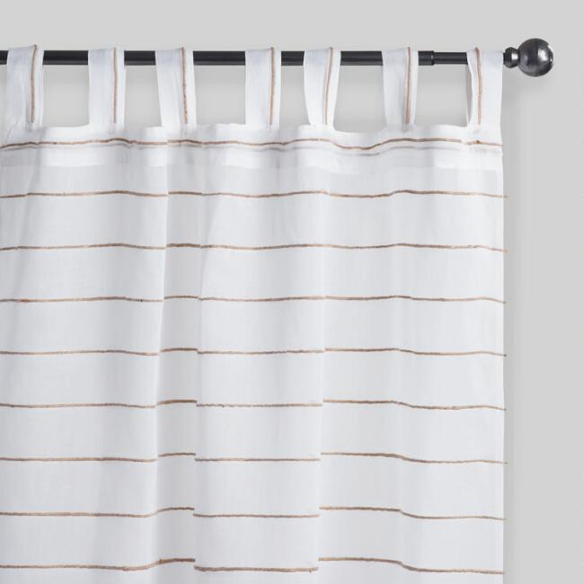 White Striped Jute Sahaj Tab Top Curtains Set of 2