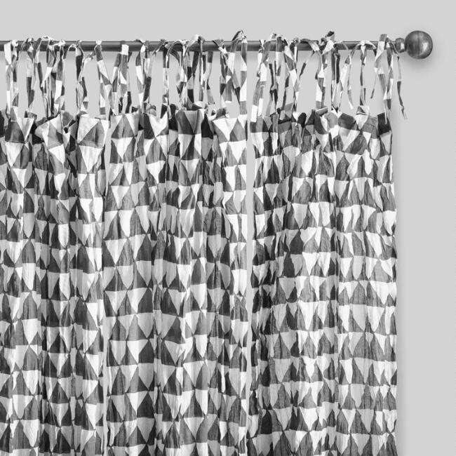 Gray and White Triangle Cotton Voile Curtains Set of 2