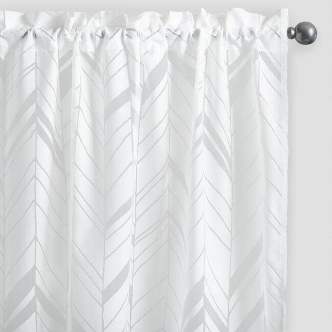 White Arrow Burnout Sheer Curtains Set of 2