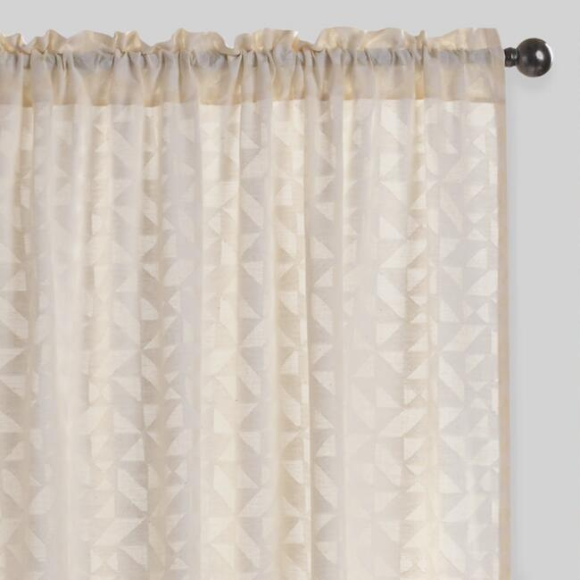 Geo Cutwork Sheer Cotton Curtains Set of 2