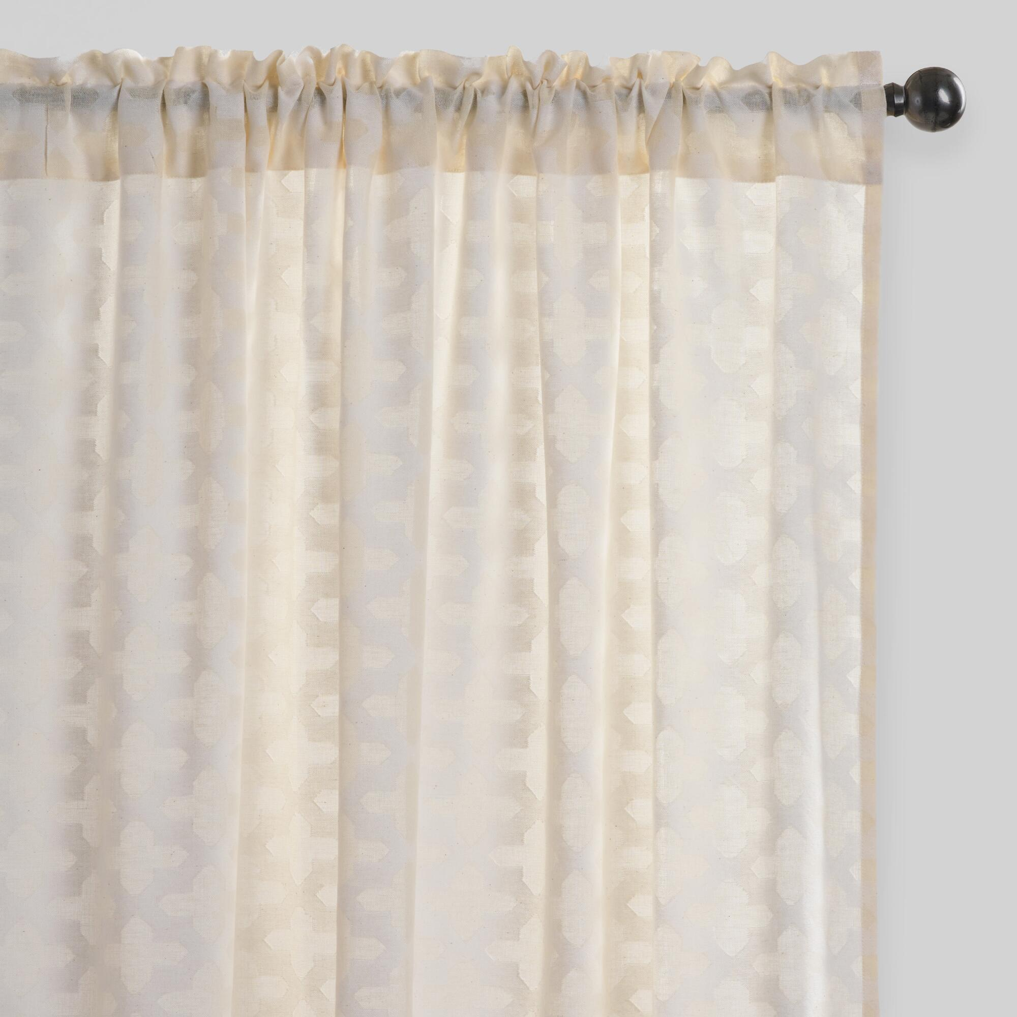 Sheer curtain texture - Arabesque Cutwork Sheer Cotton Curtains Set Of 2