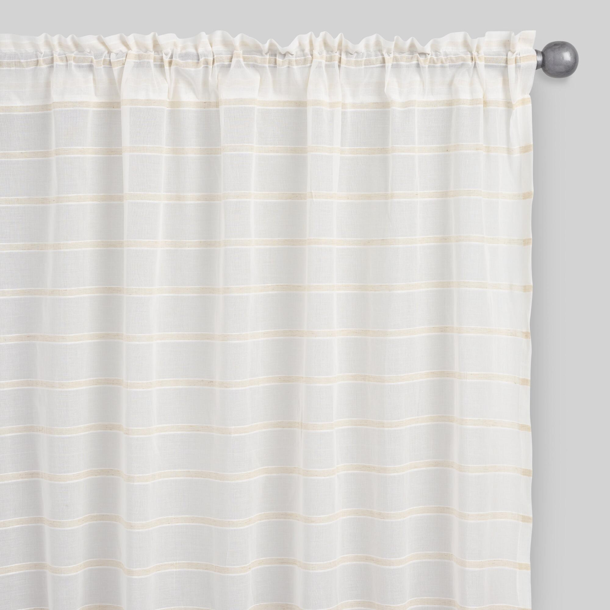 Dobby Stripe Sheer Cotton Curtains Set of 2
