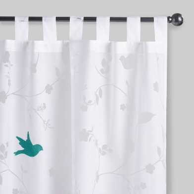 White Burnout Bluebird Sheer Tab Top Curtains Set Of 2