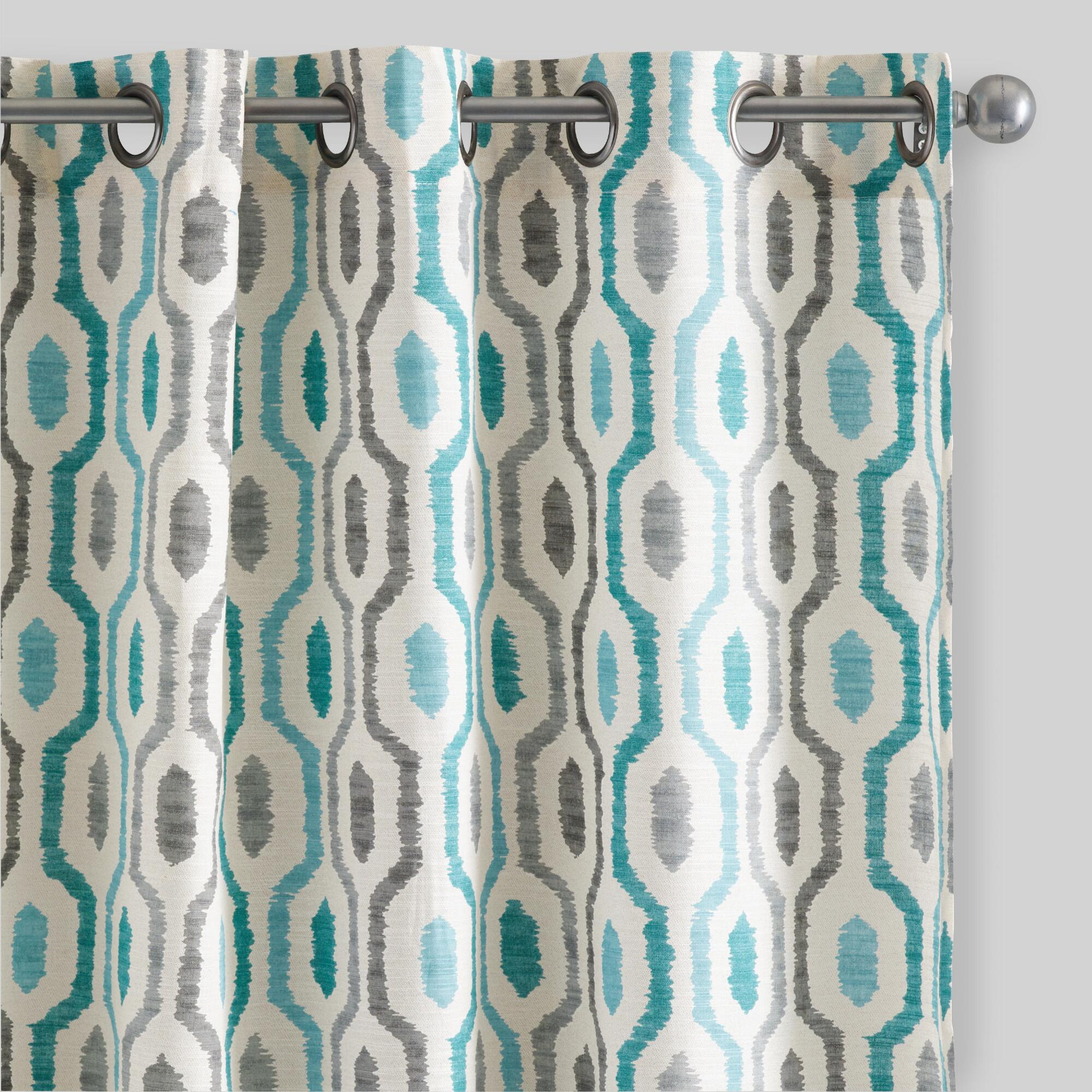 Teal and grey curtain panels - Geo Cotton Jackson Curtains Set Of 2
