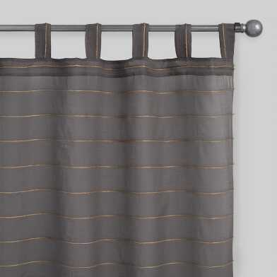 Gray Jute Striped Sahaj Tab Top Curtains Set Of 2