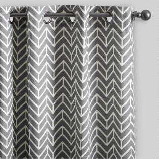 Charcoal Gray Arrow Cotton Curtains Set Of 2