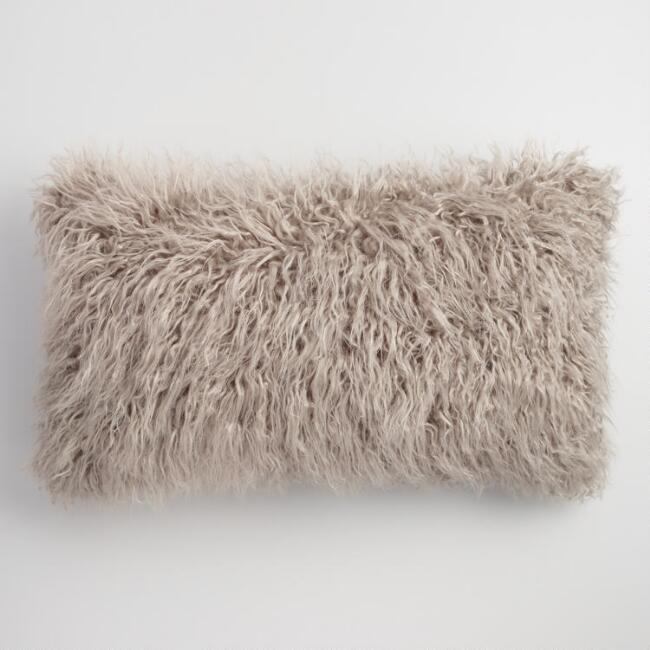 Oversized Mocha Mongolian Faux Fur Lumbar Pillow