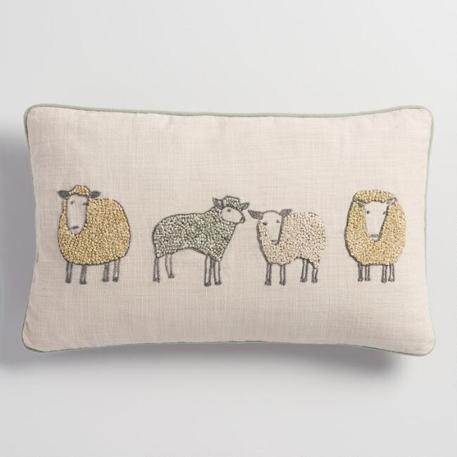 Embroidered Sheep Lumbar Pillow