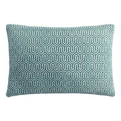 Midnight Blue Geo Chenille Lumbar Pillow