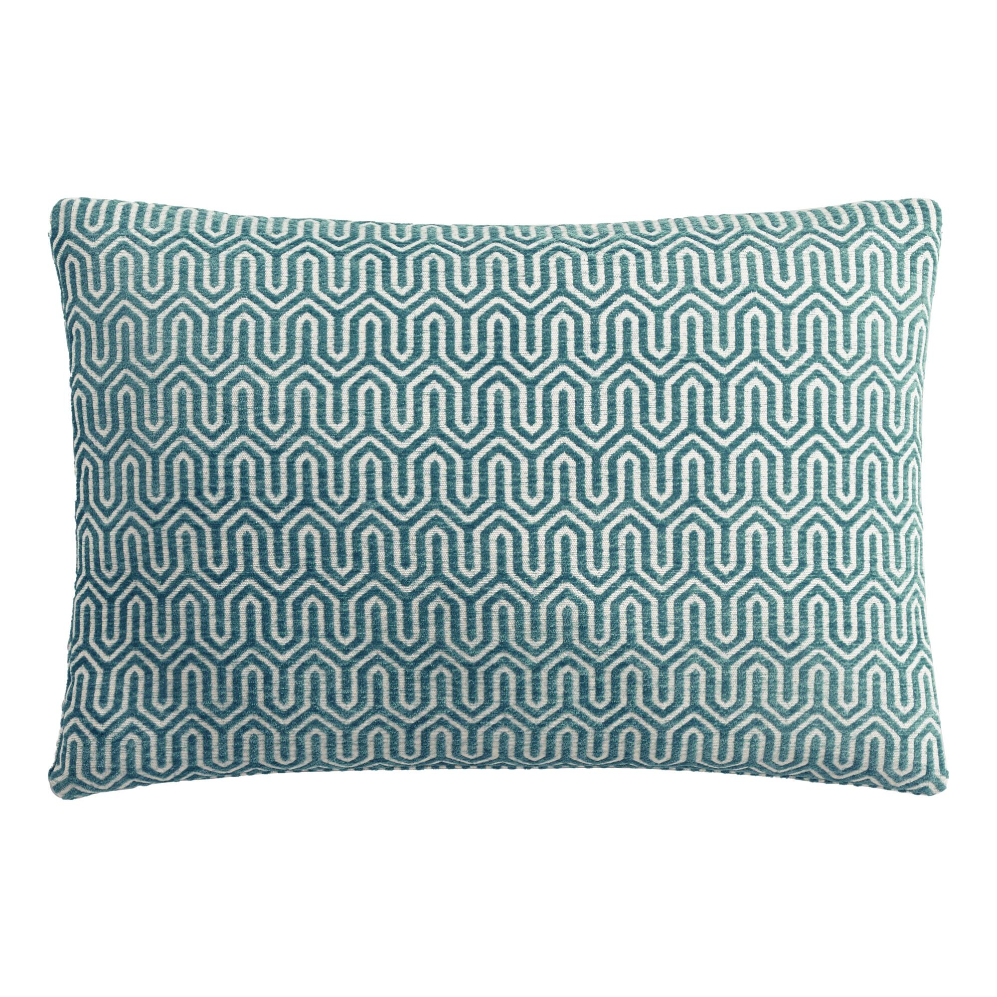 World Market Midnight Blue Geo Chenille Lumbar Pillow Polyester By World Market From Cost Plus World Market Shefinds
