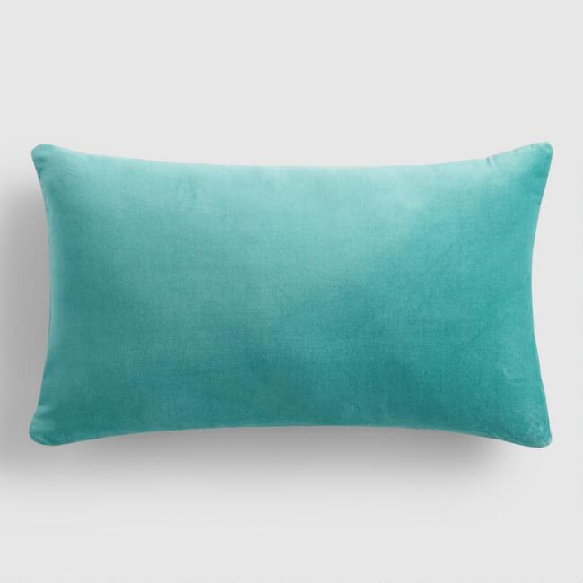 Teal  Velvet  Lumbar Pillow