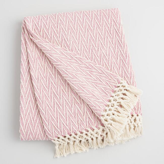 Blush and Ivory Woven Throw with Fringe