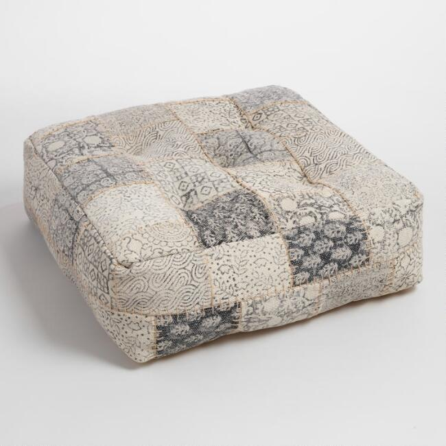 Patchwork Dhurrie Pouf