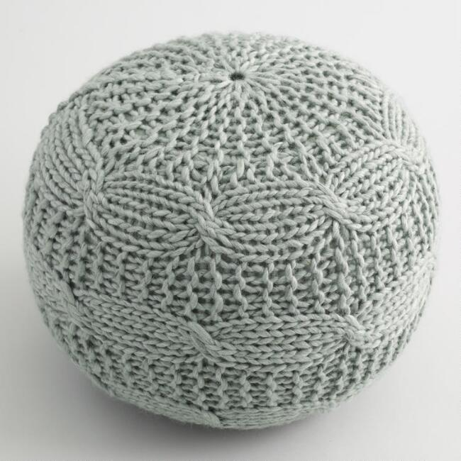 Dusty Blue Sweater Pouf