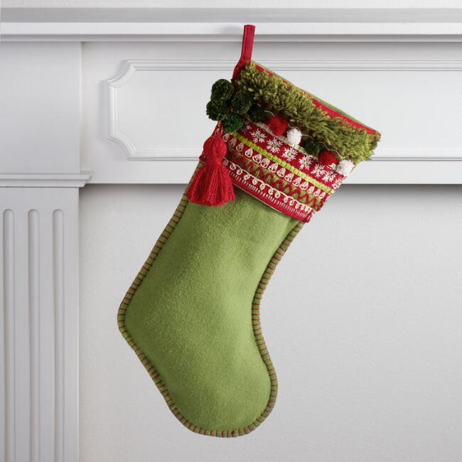 Green Stocking with Pom Pom Cuff