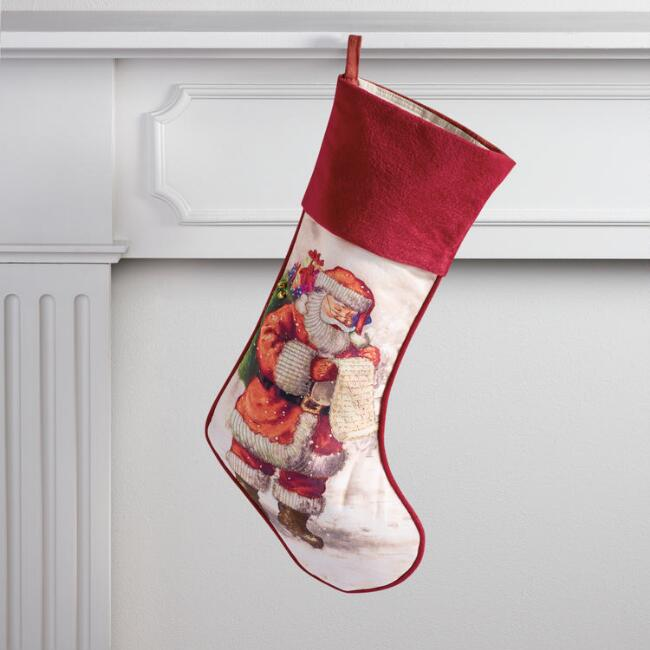 Vintage Santa Stocking with Velvet Cuff