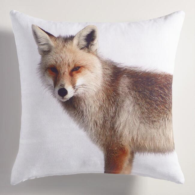 Printed Fox Throw Pillow