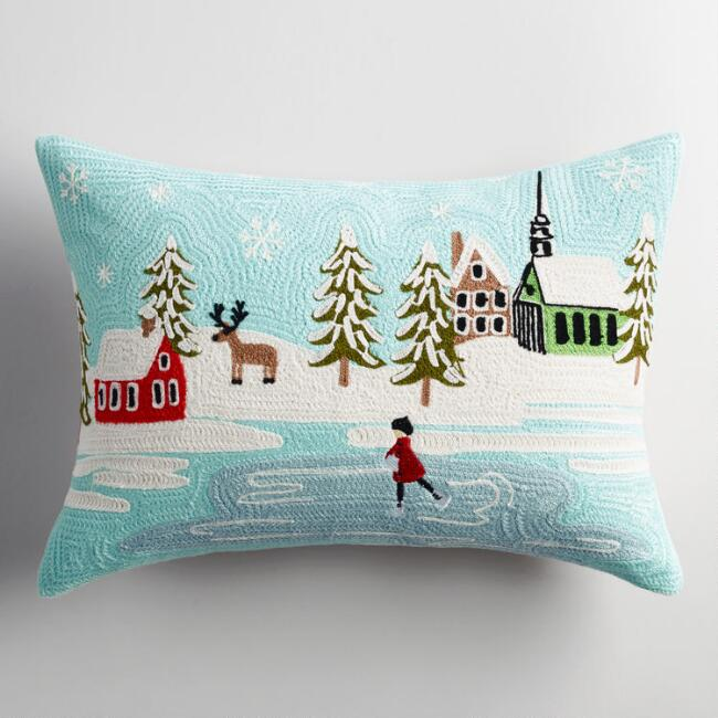 Crewel Ice Skating Scene Lumbar Pillow