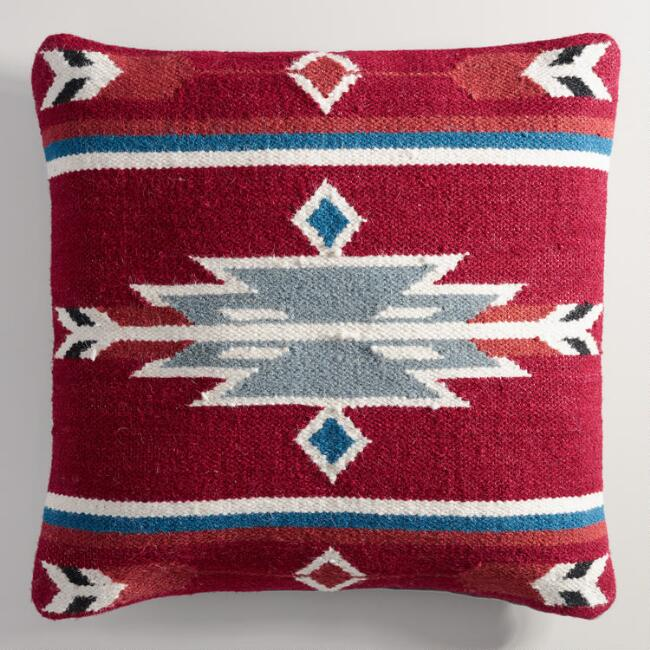 Red Wool Kilim Throw Pillow