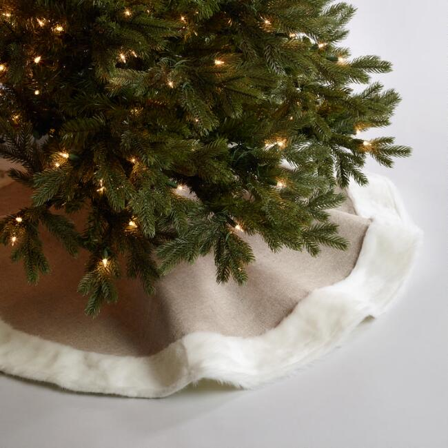 Faux Linen and Fur Tree Skirt