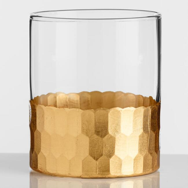 Gold Faceted DOF Glasses Set of 4