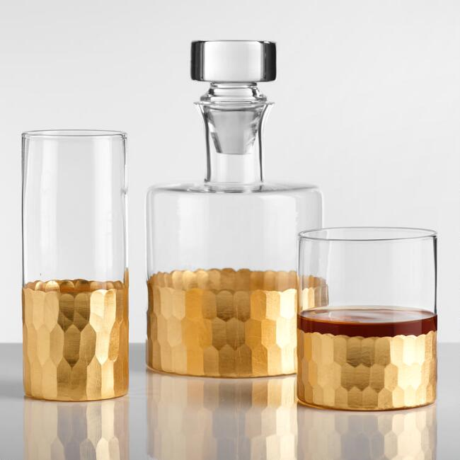 Gold Faceted Barware Collection