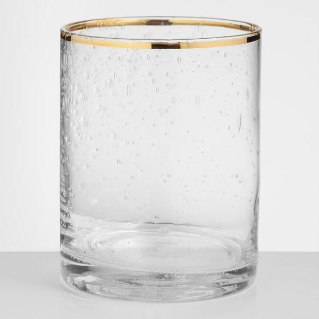 Gold Rimmed Bubble Glass DOF Glasses Set of 4