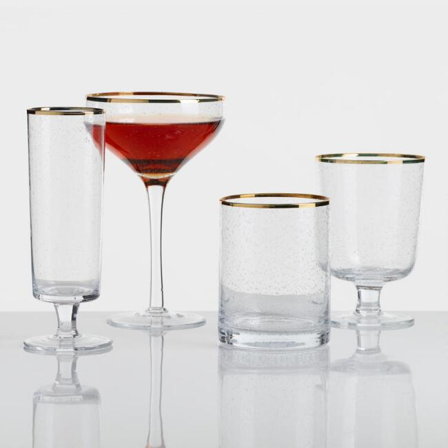 Gold Rimmed Bubble Glassware Collection
