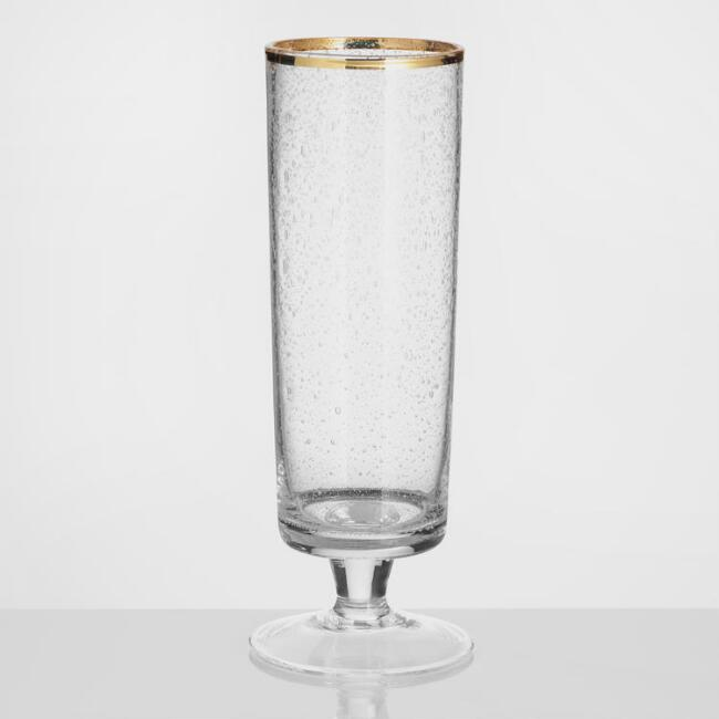 Gold Rimmed Bubble Glass Champagne Flutes Set of 4