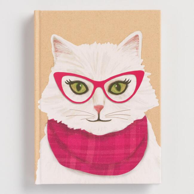 Hipster Cat Hardcover Journal