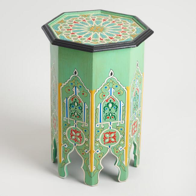 Turquoise Hexagonal Marrakech Occasional Table