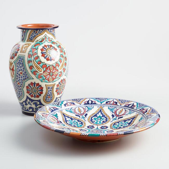Safi Ceramic Platter and Vase