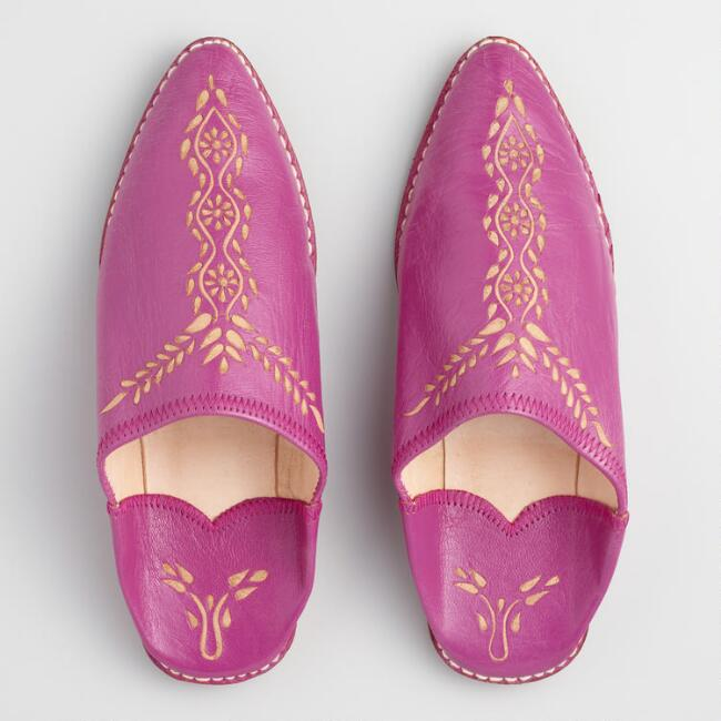 Fuchsia Leather Babouche Shoes