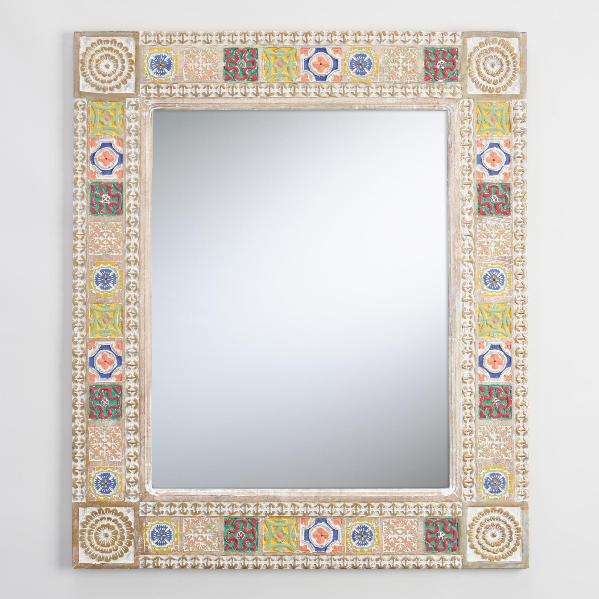 Whitewashed Painted Wood Mirror | World Market