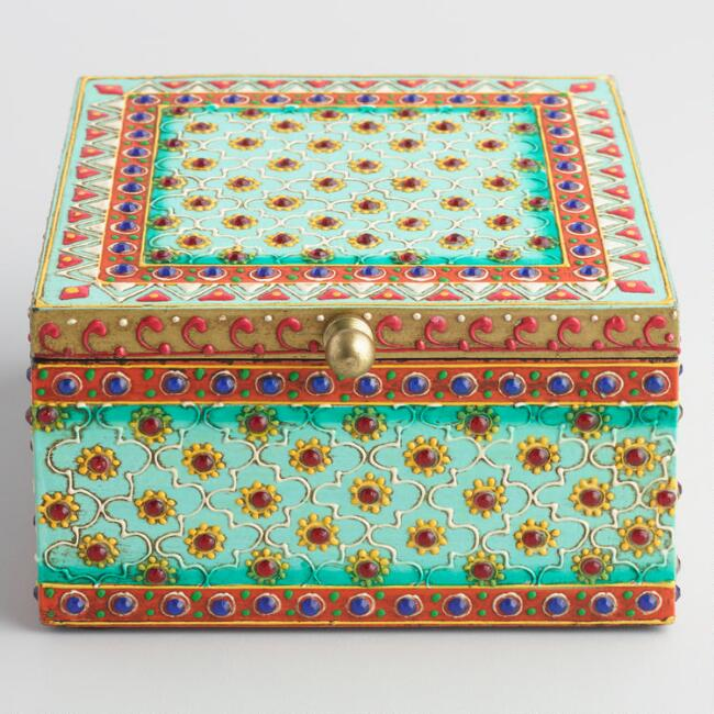 Green Painted Wood Chundri Box