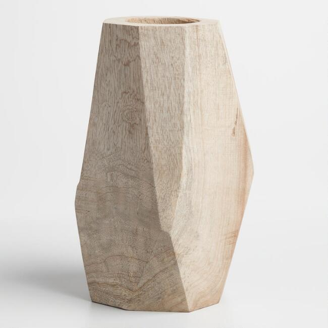 Natural Wood Faceted Kanza Vase