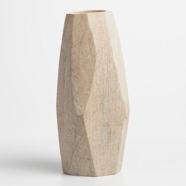 Natural Wood Faceted Innu Vase