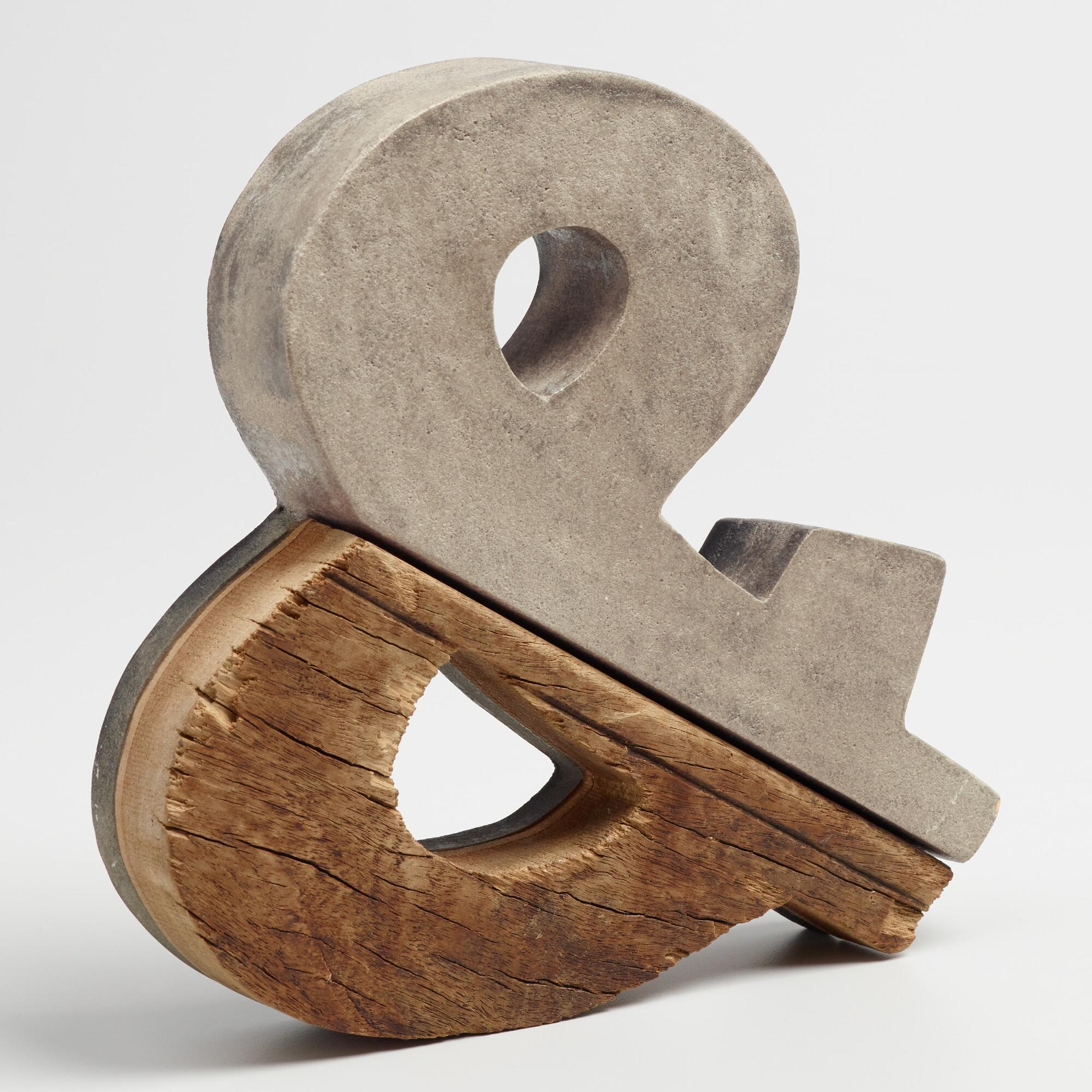 Concrete and Wood Ampersand Decor: Brown/Gray by World Market