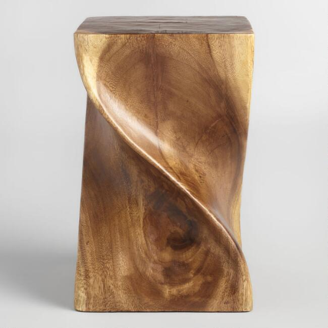 Twisted Acacia Wood Stool