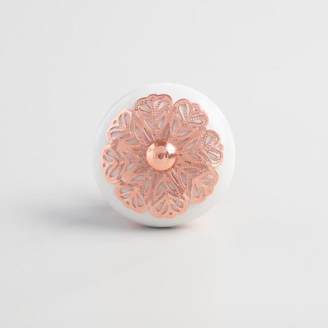 Rose Gold and White Floral Ceramic Knobs Set of 2