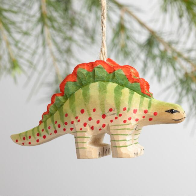 Wood Dinosaur Ornaments Set of 4