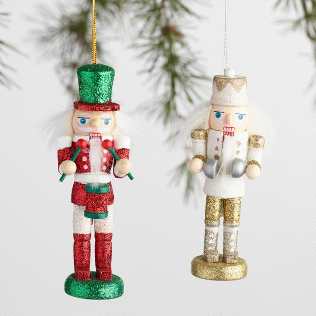 Traditional Wood Nutcracker Boxed Ornaments Set of 2