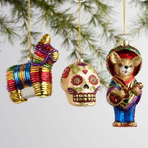 v1 - Glass Mexico Boxed Ornaments 3 Pack World Market