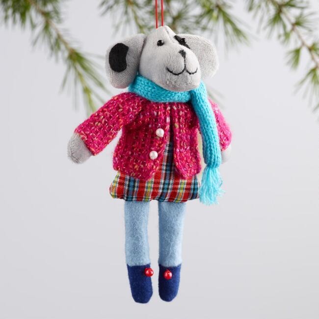 Fabric Holiday Dressed Dog Ornaments