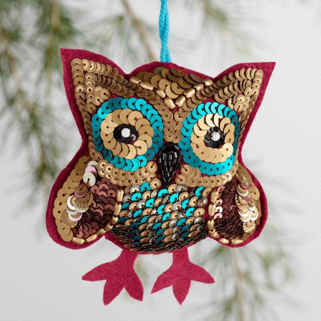 Sequin Owl Ornaments Set of 4