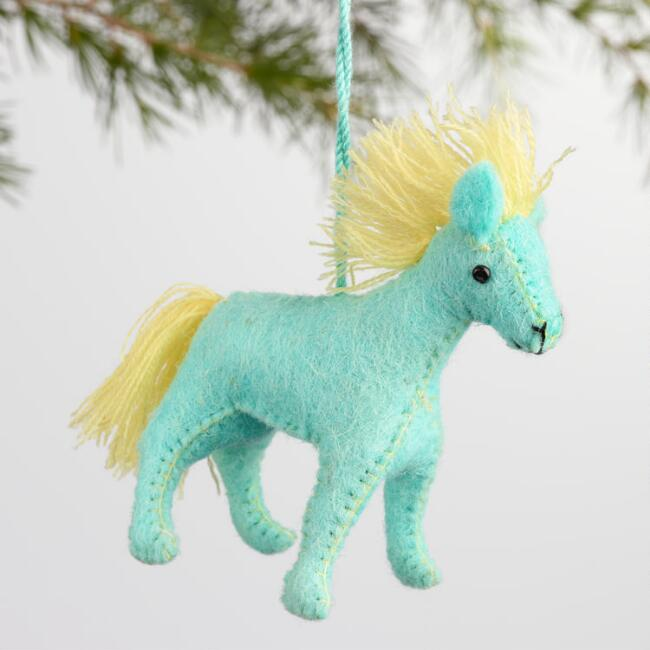 Wool Horse Ornaments Set of 4