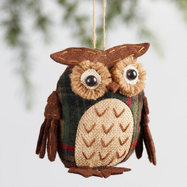 Fabric Plaid Woodland Animal Ornaments Set of 3