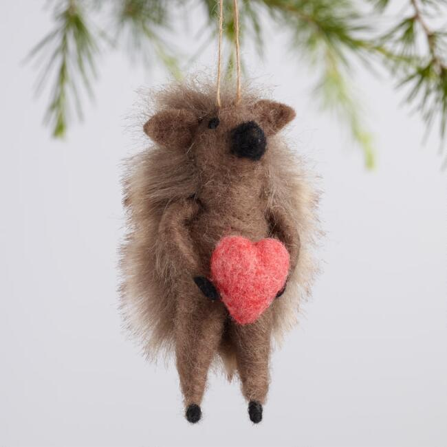 Wool Hedgehog Ornaments Set of 3